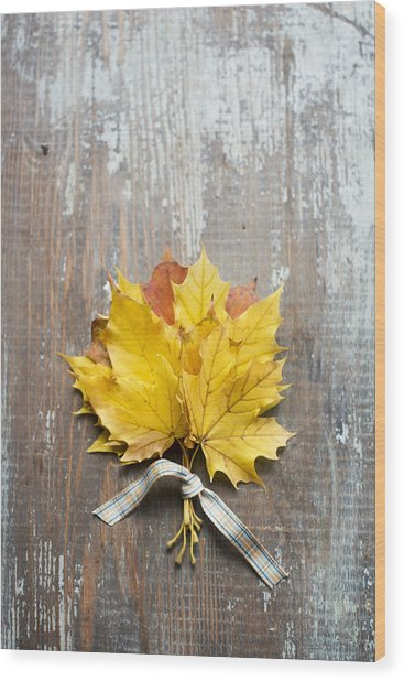 Autumn Leaves Tied With Ribbon Wood Print