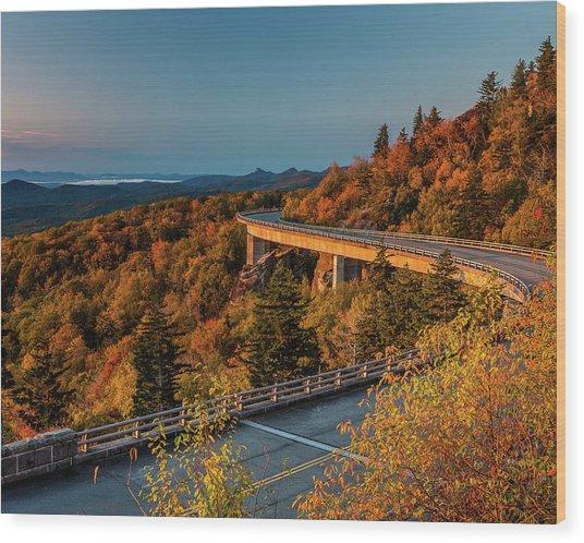 Morning Sun Light - Autumn Linn Cove Viaduct Fall Foliage Wood Print