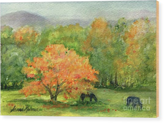 Autumn Maple With Horses Grazing Wood Print
