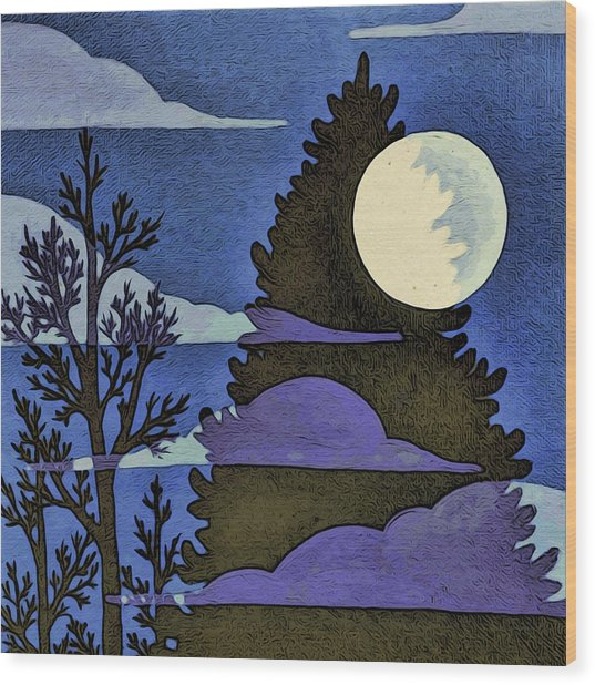 Autumn Moon Wood Print