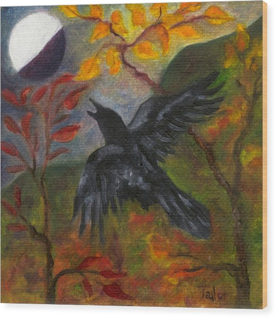 Autumn Moon Raven Wood Print
