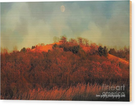 Autumn Moonrise Wood Print