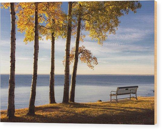 Autumn Morn On The Lake Wood Print