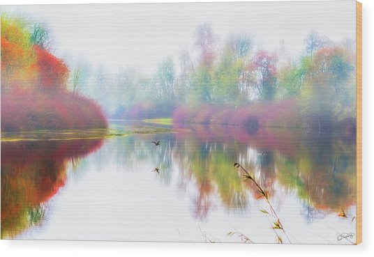 Autumn Morning Dream Wood Print