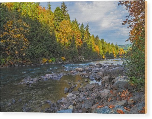 Autumn Morning Light On The Snoqualmie Wood Print