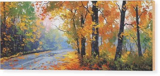 Autumn Mt Wilson Wood Print