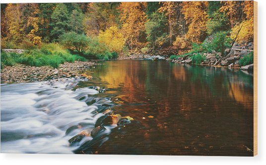 Autumn On The Merced River Yosemite Np Wood Print by Edward Mendes