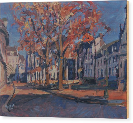 Autumn On The Square Of Our Lady Maastricht Wood Print
