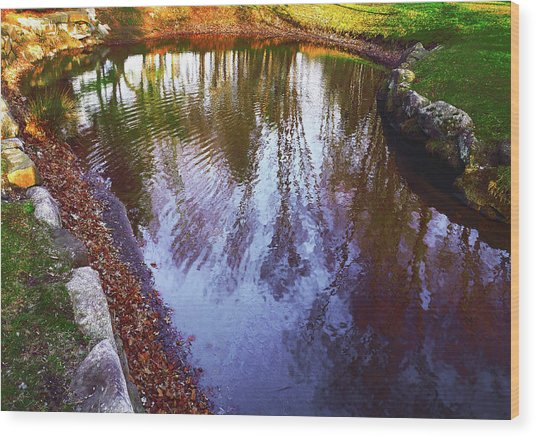 Autumn Reflection Pond Wood Print