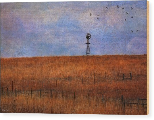 Autumn Prairie Windmill Wood Print