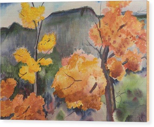 Autumn Rainy Day Wood Print