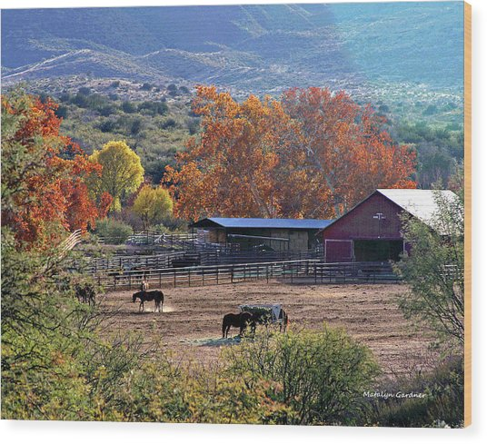Autumn Ranch Wood Print