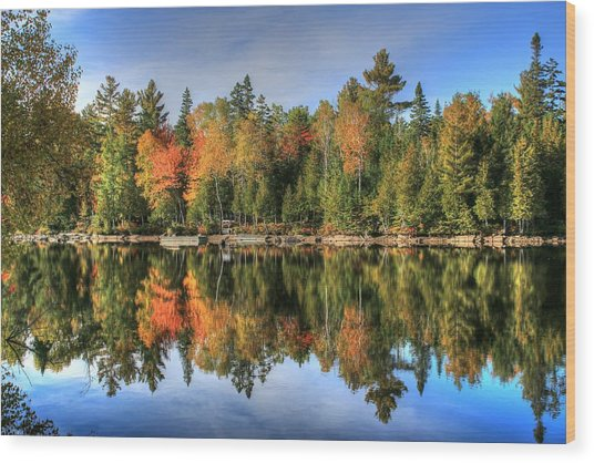 Autumn Reflections Of Maine Wood Print