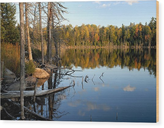Autumn Reflections On Little Bass Lake Wood Print