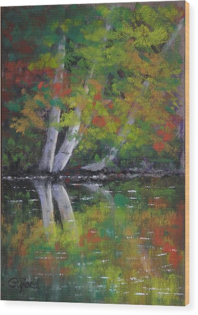 Autumn Reflections Wood Print by Paula Ann Ford