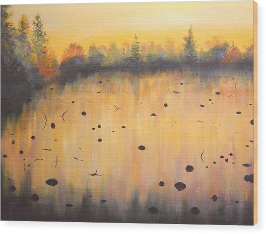 Autumn River Fog IIi Wood Print by Connie Tom