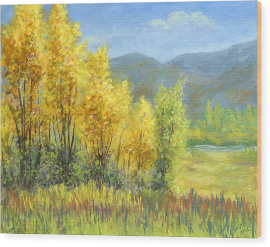 Autumn River Valley Wood Print