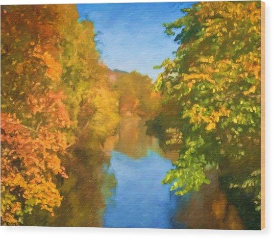 Autumn Riverlight Wood Print