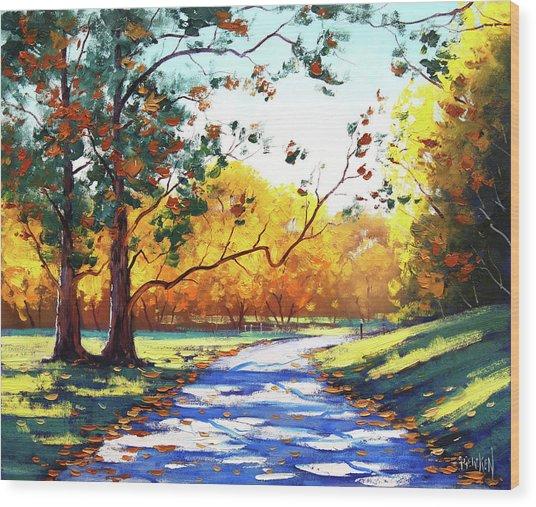 Autumn Road Mt Wilson Wood Print