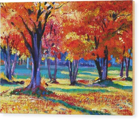 Autumn Row Wood Print by David Lloyd Glover