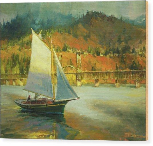Autumn Sail Wood Print