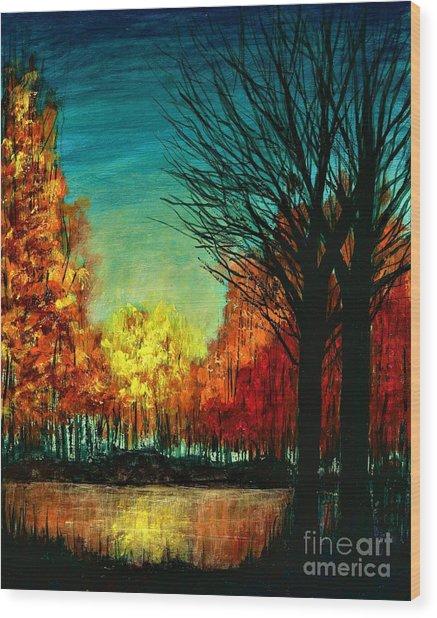 Autumn Silhouette  Wood Print