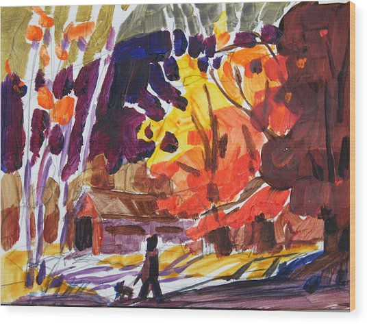 Autumn Sketch Wood Print by Len Stomski