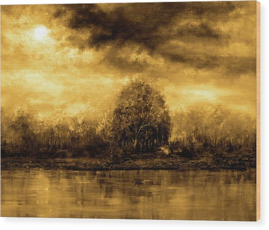 Autumn Skies Wood Print by Ann Marie Bone