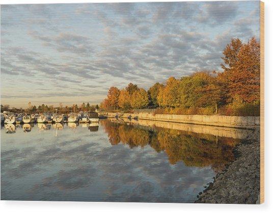 Autumn Splendor At The Marina - Calm Morning On The Lake Wood Print