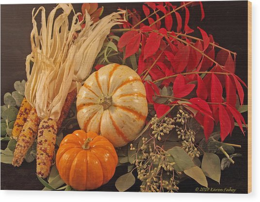 Autumn Still Life Wood Print by Karen Fahey