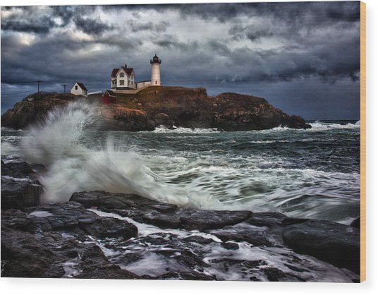 Autumn Storm At Cape Neddick Wood Print