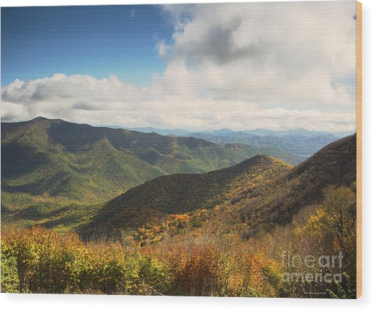 Autumn Storm Clouds Blue Ridge Parkway Wood Print