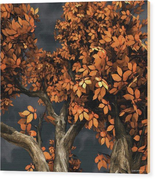 Autumn Storm Wood Print