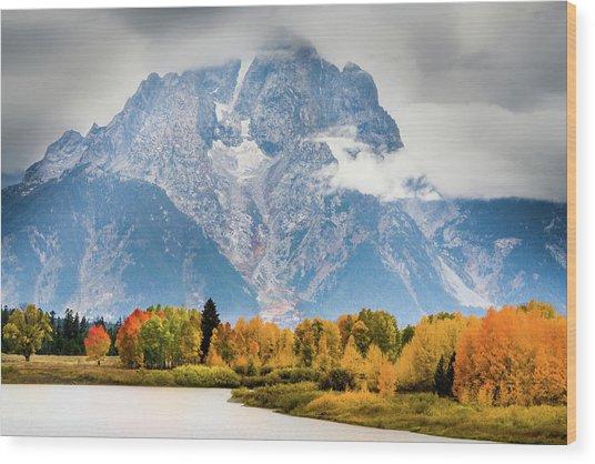Autumn Storm Over Mount Moran Wood Print