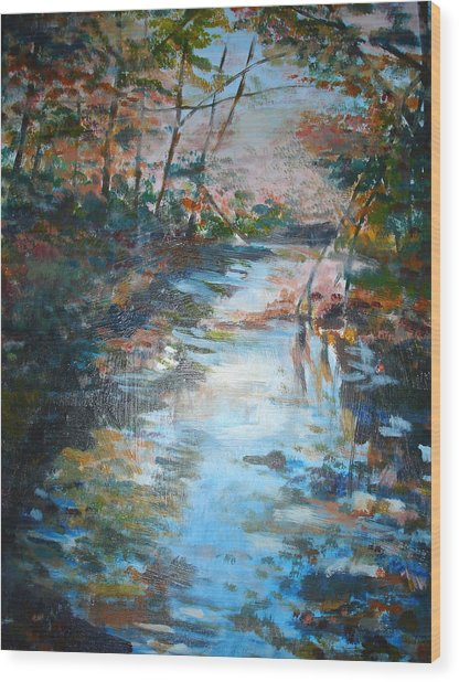 Autumn Stream Wood Print by Joyce Kanyuk