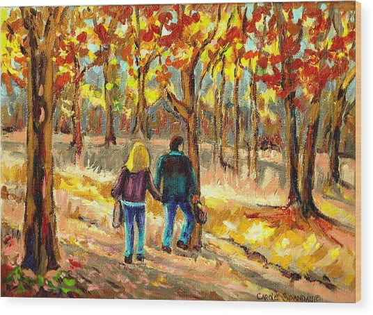 Autumn  Stroll On Mount Royal Wood Print