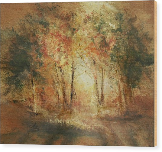 Autumn Sun Wood Print by Aneta  Berghane