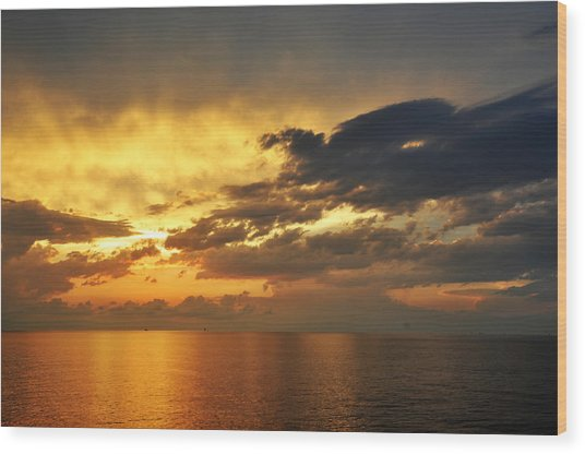 Autumn Sunrise In The Gulf  Wood Print by Bill Perry