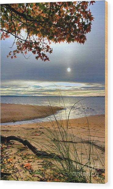 Autumn Sunrise On The James Wood Print