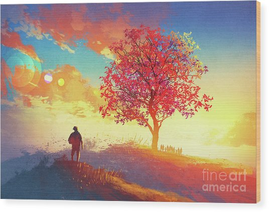 Wood Print featuring the painting Autumn Sunrise by Tithi Luadthong