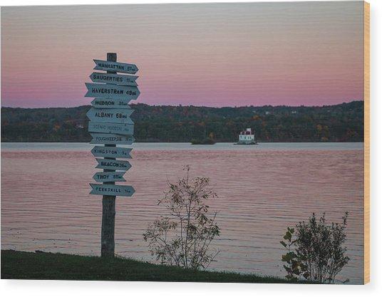 Autumn Sunset At Esopus Meadows Wood Print