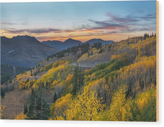 Autumn Sunset At Guardsman Pass, Utah Wood Print