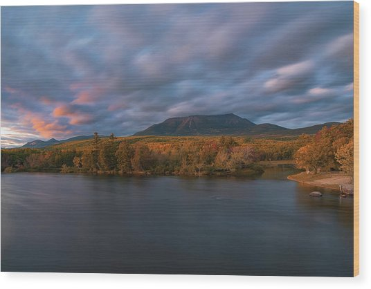 Autumn Sunset At Mount Katahdin Wood Print