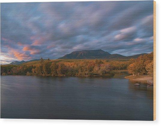 Autumn Sunset At Mount Katahdin Wood Print