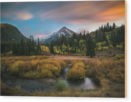 Autumn Sunset In Big Cottonwood Canyon Wood Print