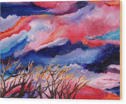 Autumn Sunset In The Sky Wood Print