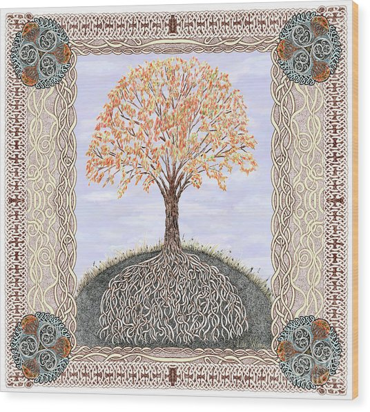 Autumn Tree Of Life Wood Print