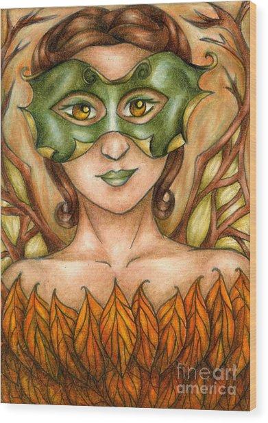 Autumn Tree Sprite Art Wood Print