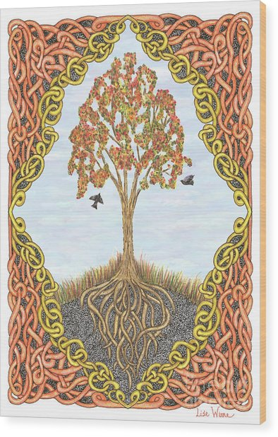 Autumn Tree With Knotted Roots And Knotted Border Wood Print