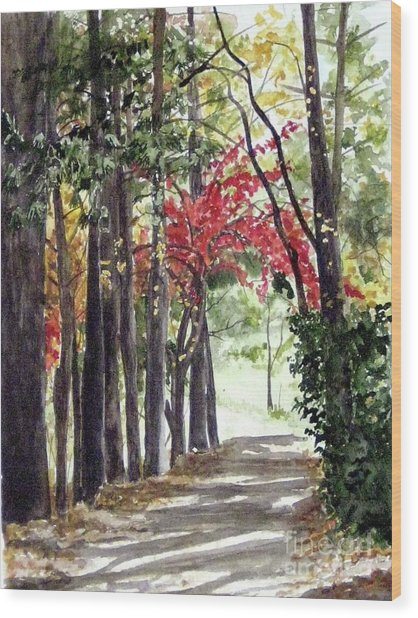 Autumn Walk Wood Print by Carla Dabney